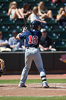 Andrew Benintendi (16) of the Salem Red Sox at bat against the Winston-Salem Dash at BB&T Ballpark on April 17, 2016 in Winston-Salem, North Carolina.  The Red Sox defeated the Dash 3-1.  (Brian Westerholt/Four Seam Images)