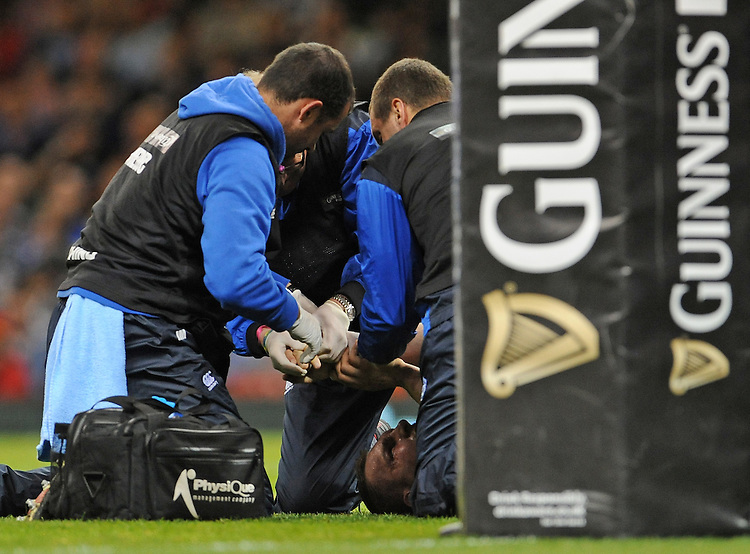 Cardiff Blues' Gethin Jenkins receives treatment for a dislocated finger <br /> <br /> Photographer Ian Cook/CameraSport<br /> <br /> Rugby Union - Guinness PRO12 - Saturday 25th April 2015 - Cardiff Blues v Ospreys - Millennium Stadium - Cardiff<br /> <br /> &copy; CameraSport - 43 Linden Ave. Countesthorpe. Leicester. England. LE8 5PG - Tel: +44 (0) 116 277 4147 - admin@camerasport.com - www.camerasport.com