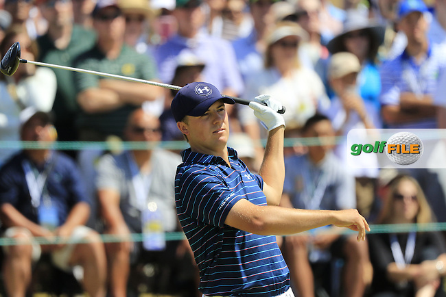Jordan Speith (USA) tees off the 1st tee to start his match during Sunday's Final Round of the 2015 U.S. Open 115th National Championship held at Chambers Bay, Seattle, Washington, USA. 6/21/2015.<br /> Picture: Golffile | Eoin Clarke<br /> <br /> <br /> <br /> <br /> All photo usage must carry mandatory copyright credit (&copy; Golffile | Eoin Clarke)