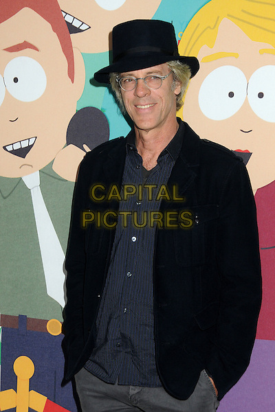 "Stewart Copeland.""South Park"" 15th Anniversary Party held at Barker Hangar, Santa Monica, California, USA..September 20th, 2011.half length black jacket hair blue shirt glasses.CAP/ADM/BP.©Byron Purvis/AdMedia/Capital Pictures."