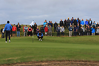 Euan Walker (GB&I) on the 4th during the Foursomes at the Walker Cup, Royal Liverpool Golf CLub, Hoylake, Cheshire, England. 07/09/2019.<br /> Picture Thos Caffrey / Golffile.ie<br /> <br /> All photo usage must carry mandatory copyright credit (© Golffile | Thos Caffrey)