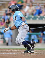 Catcher Jose Bonilla (9) of the Wilmington Blue Rocks, Carolina League affiliate of the Kansas City Royals, in a game against the Lynchburg Hillcats on June 15, 2011, at City Stadium in Lynchburg, Va. (Tom Priddy/Four Seam Images)