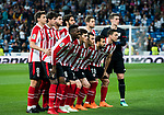 Players of Athletic Club Bilbao line up and pose for a photo prior to the La Liga 2017-18 match between Real Madrid and Athletic Club Bilbao at Estadio Santiago Bernabeu on April 18 2018 in Madrid, Spain. Photo by Diego Souto / Power Sport Images