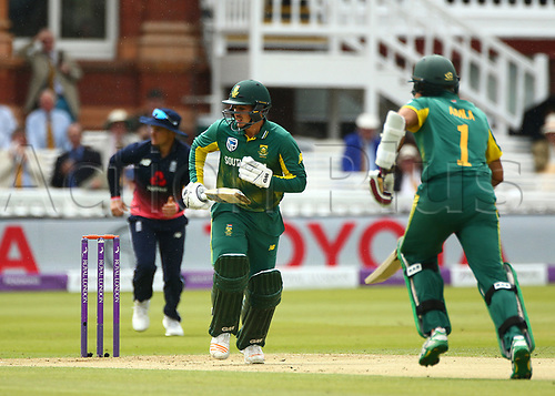 May 29th 2017, Lords, London, England, One Day International Cricket, England versus South Africa; Quinton de Kock (wk) of South Africa watches his shot reach the boundary for 4 runs