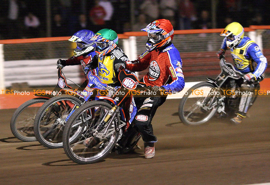 Heat 13 - Andreas Jonsson (red) ahead of Chris Harris (green), Adam Shields (blue) and Lewis Bridger - Lakeside Hammers vs Eastbourne Eagles - Elite League Knockout Cup Quarter Final 1st Leg at Arena Essex -  14/09/07  - MANDATORY CREDIT: Gavin Ellis/TGSPHOTO - SELF-BILLING APPLIES WHERE APPROPRIATE. NO UNPAID USE. TEL: 0845 094 6026..
