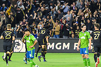 Los Angeles, CA - October 24, 2019.  Seattle Sounders FC defeated LAFC 3 - 1 in the Western Conference Championship match at Banc of California Stadium in Los Angeles.   LAFC celebrates the goal scored by Eduard Atuesta.
