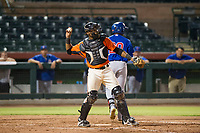 AZL Giants catcher Andres Angulo (1) on defense during Game Three of the Arizona League Championship Series against the AZL Cubs on September 7, 2017 at Scottsdale Stadium in Scottsdale, Arizona. AZL Cubs defeated the AZL Giants 13-3 to win the series two games to one. (Zachary Lucy/Four Seam Images)