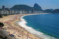 Copacabana Beach  with Sugar Loaf in background, Rio de Janeiro, Brazi