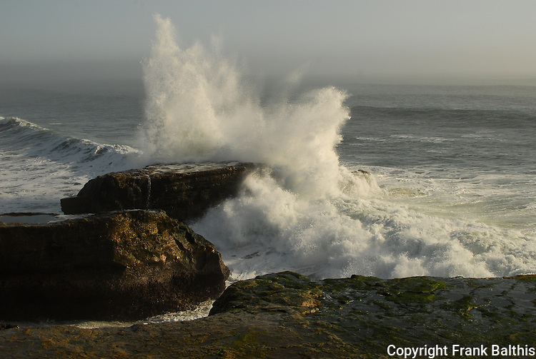 Crashing surf on Westcliff Drive in Santa Cruz