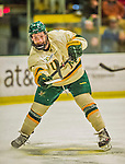 14 December 2013: University of Vermont Catamount Defenseman Nick Bruneteau, a Senior from Omaha, NB, snaps his carbon fiber stick during third period action against the Saint Lawrence University Saints at Gutterson Fieldhouse in Burlington, Vermont. The Catamounts defeated their former ECAC rivals, 5-1 to notch their 5th straight win in NCAA non-divisional play. Mandatory Credit: Ed Wolfstein Photo *** RAW (NEF) Image File Available ***