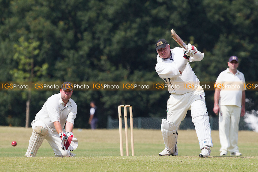Dave Hemmings drives square through the off side and collects a boundary - Hornchurch Athletic CC 3rd XI vs Havering-atte-Bower CC 3rd XI - Mid-Essex League Cricket at Raphael Park - 12/07/14 - MANDATORY CREDIT: Ray Lawrence/TGSPHOTO - Self billing applies where appropriate - contact@tgsphoto.co.uk - NO UNPAID USE