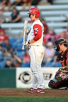 Williamsport Crosscutters catcher Sean McHugh (21) at bat during a game against the Aberdeen IronBirds on August 4, 2014 at Bowman Field in Williamsport, Pennsylvania.  Aberdeen defeated Williamsport 6-3.  (Mike Janes/Four Seam Images)
