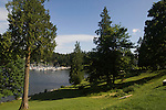 Park, trees and marina in Deep Cove, Burrard Inlet,Vancouver, British Columbia, Canada.