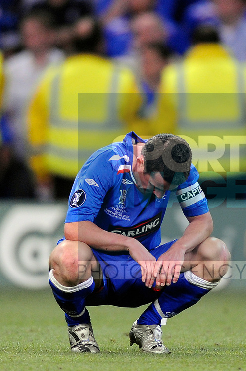 Barry Ferguson of Rangers dejected during the Europa League Final match at The Etihad Stadium, Manchester. Picture date 14th May 2008. Picture credit should read: Simon Bellis/Sportimage