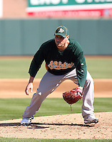 Ben Sheets. Oakland Athletics spring training workouts at the Athletics complex, Phoenix, AZ - 02/25/2010 & 02/26/2010.Photo by:  Bill Mitchell/Four Seam Images.