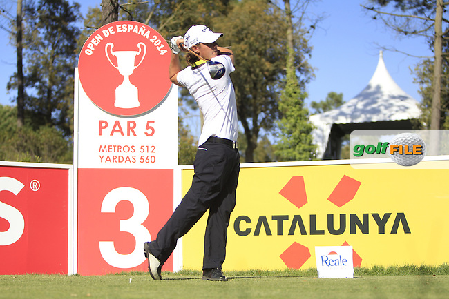 Kristoffer Broberg (SWE) on the 3rd tee during Thursday's Round 1 of The Open De Espana at The PGA Catalunya Resort. 15th May 2014.<br /> Picture:  Thos Caffrey / www.golffile.ie