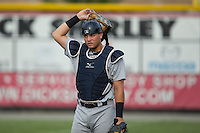 Pulaski Yankees catcher Jesus Aparicio (45) warms up in the outfield prior to the game against the Burlington Royals at Burlington Athletic Park on August 6, 2015 in Burlington, North Carolina.  The Royals defeated the Yankees 1-0. (Brian Westerholt/Four Seam Images)
