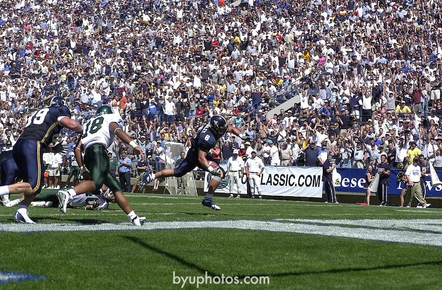 DSC_1060<br /> <br /> BYU vs Tulane 6 Luke Staley.<br /> August 25, 2001<br /> <br /> Box: in office<br /> <br /> Photo by: Mark Philbrick/BYU<br /> <br /> Copyright BYU PHOTO 2008<br /> All Rights Reserved<br /> 801-422-7322<br /> photo@byu.edu