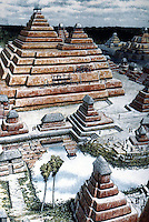 World Civilization:  Mayan City-- El Mirador, 150 B.C. - A.D. 150.  Pyramids of limestone blocks covered by stucco and lime mortar & ferric oxide, a red pigment.  NATIONAL GEOGRAPHIC July 1987.
