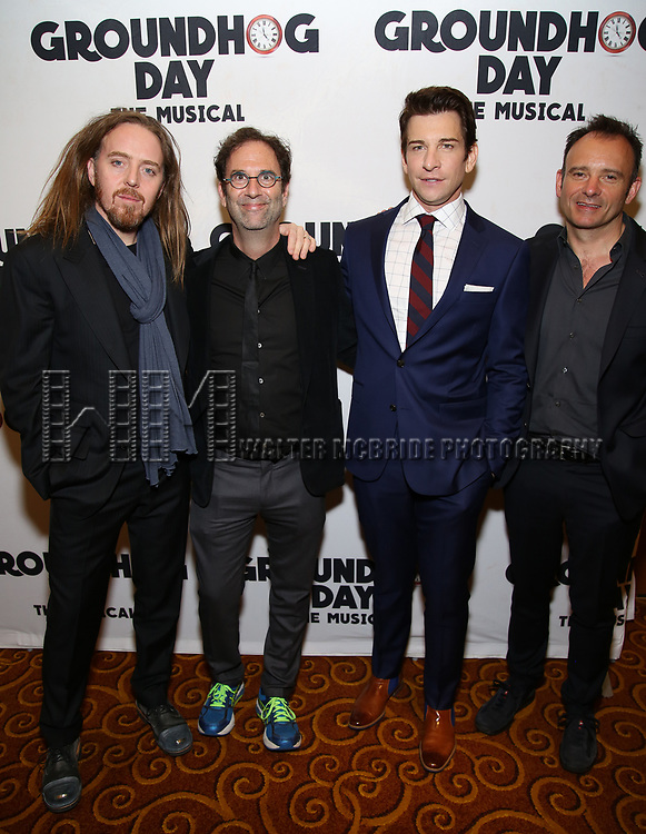 Tim Minchin, Danny Rubin, Andy Karl and Matthew Warchus attend the Broadway Opening Night After Party for 'Groundhog Day' at Gotham Hall on April 17, 2017 in New York City.
