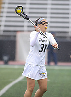 Towson, MD - February 10, 2018: Towson Gabby Cha (31) passes the ball during game between Towson and Penn St at  Minnegan Field at Johnny Unitas Stadium  in Towson, MD.   (Photo by Elliott Brown/Media Images International)