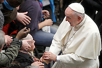 STRICTLY ONLY FOR EDITORIAL USE Papa Francesco tiene un'udienza ai partecipanti al Giubileo delle Persone socialmente escluse, in aula Paolo VI, Citta' del Vaticano, 11 novembre 2016.<br /> Pope Francis attends a Jubilee audience with people socially excluded in Paul VI hall at the Vatican 11 November, 2016.<br /> UPDATE IMAGES PRESS/Isabella Bonotto<br /> <br /> STRICTLY ONLY FOR EDITORIAL USE