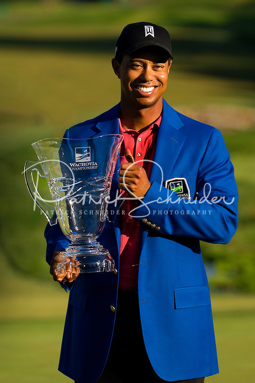 Tiger Woods smiles after winning the 2007 Wachovia Championships at Quail Hollow Country Club in Charlotte, NC.