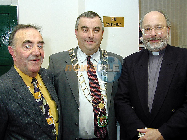 Jim Garry, Mayor of Drogheda Cllr. Sean Collins and Rev. Michael Graham at the launch of Jim's book, The Cord Cemetery in The Governer's House, Millmount on Thursday..Picture Paul Mohan Newsfile