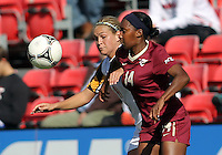 COLLEGE PARK, MD - OCTOBER 21, 2012:  Olivia Wagner (11) of the University of Maryland and Tiffany McCarty (14) of Florida State go for the ball during an ACC women's match at Ludwig Field in College Park, MD. on October 21. Florida won 1-0.