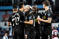Manchester City's Sergio Aguero (centre) is congratulated by team mates after scoring his side's sixth goal <br /> <br /> Photographer Andrew Kearns/CameraSport<br /> <br /> The Premier League - Aston Villa v Manchester City - Sunday 12th January 2020 - Villa Park - Birmingham<br /> <br /> World Copyright © 2020 CameraSport. All rights reserved. 43 Linden Ave. Countesthorpe. Leicester. England. LE8 5PG - Tel: +44 (0) 116 277 4147 - admin@camerasport.com - www.camerasport.com