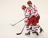 Doyle Somerby (BU - 27), Nikolas Olsson (BU - 13), Johnny McDermott (BU - 28) - The visiting Merrimack College Warriors defeated the Boston University Terriers 4-1 to complete a regular season sweep on Friday, January 27, 2017, at Agganis Arena in Boston, Massachusetts.The visiting Merrimack College Warriors defeated the Boston University Terriers 4-1 to complete a regular season sweep on Friday, January 27, 2017, at Agganis Arena in Boston, Massachusetts.