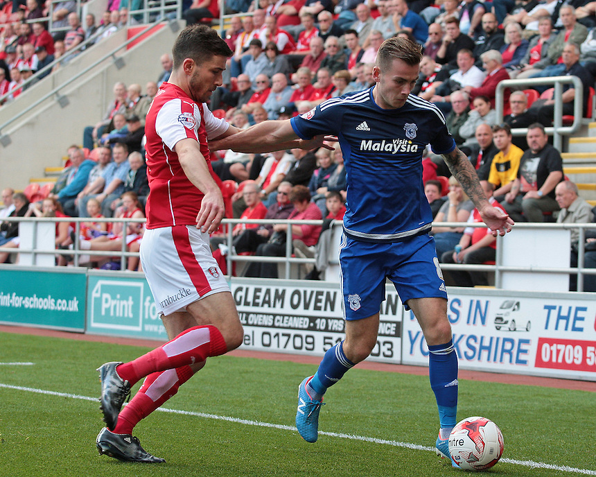 Cardiff City's Joe Ralls holds off the challenge from Rotherham United's Lewis Buxton<br /> <br /> Photographer David Shipman/CameraSport<br /> <br /> Football - The Football League Sky Bet Championship - Rotherham United v Cardiff City - Saturday 19th September 2015 - AESSEAL New York Stadium - Rotherham<br /> <br /> &copy; CameraSport - 43 Linden Ave. Countesthorpe. Leicester. England. LE8 5PG - Tel: +44 (0) 116 277 4147 - admin@camerasport.com - www.camerasport.com