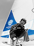 Onboard the MOD70 Race for Water, the first of the new series of oceanic one-design multihulls, skipper Steve Ravussin, Lorient, Brittany, France..Eric Loizeau