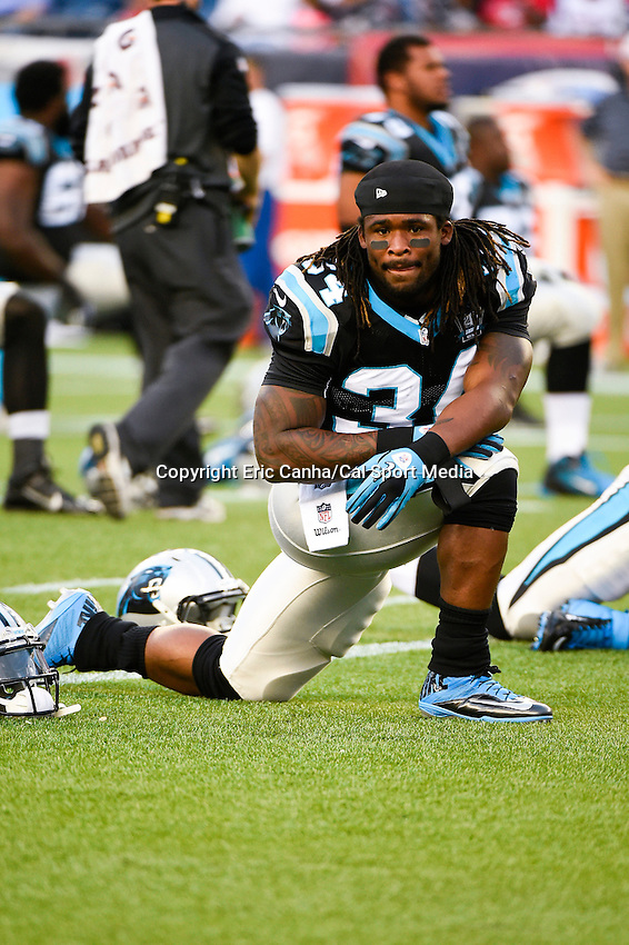 August 22, 2014 - Foxborough, Massachusetts, U.S.- Carolina Panthers running back DeAngelo Williams (34) warms up before the NFL pre-season game between the New England Patriots and the Carolina Panthers held at Gillette Stadium in Foxborough Massachusetts. The Patriots defeated the Panthers 30-7 in regulation time. Eric Canha/CSM
