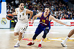 Facundo Campazzo of Real Madrid and Thomas Heurtel of FC Barcelona Lassa during Turkish Airlines Euroleague match between Real Madrid and FC Barcelona Lassa at Wizink Center in Madrid, Spain. December 13, 2018. (ALTERPHOTOS/Borja B.Hojas)