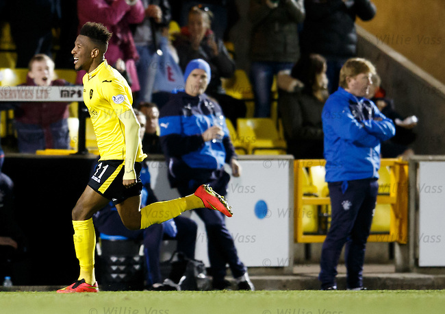 Myles Hippolyte celebrates his goal for Livingston
