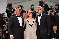 "Julianne Moore, Matt Damon, George Clooney at the ""Suburbicon"" premiere, 74th Venice Film Festival in Italy on 2 September 2017.<br /> <br /> Photo: Kristina Afanasyeva/Featureflash/SilverHub<br /> 0208 004 5359<br /> sales@silverhubmedia.com"