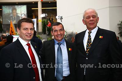 Genève, le 13.03.2011.Elections Municipales ambiance..MCG de gauche à droite : Roger Goley, Carlos Medeiros, Soli Pardo..© Jean-Patrick Di Silvestro / Le Courrier