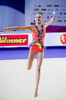 ALINA HARNASKO, junior from Belarus performs with clubs at 2016 European Championships at Holon, Israel on June 18, 2016.