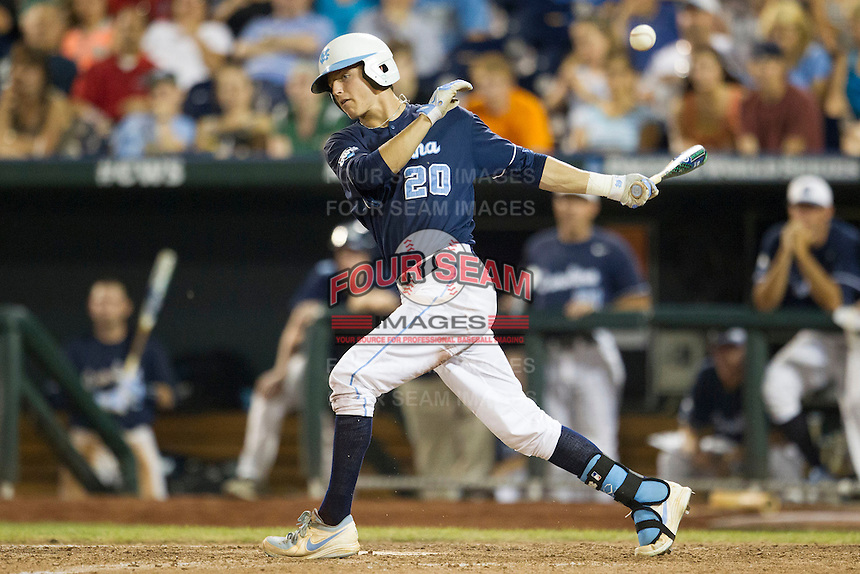 North Carolina outfielder Skye Bolt (20) follows through on his swing during Game 10 of the 2013 Men's College World Series against the North Carolina State Wolfpack on June 20, 2013 at TD Ameritrade Park in Omaha, Nebraska. The Tar Heels defeated the Wolfpack 7-0, eliminating North Carolina State from the tournament. (Andrew Woolley/Four Seam Images)