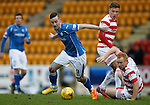 St Johnstone v Hamilton Accies....016.01.16  SPFL  McDiarmid Park, Perth<br /> Steven MacLean turns Ziggy Gordon<br /> Picture by Graeme Hart.<br /> Copyright Perthshire Picture Agency<br /> Tel: 01738 623350  Mobile: 07990 594431