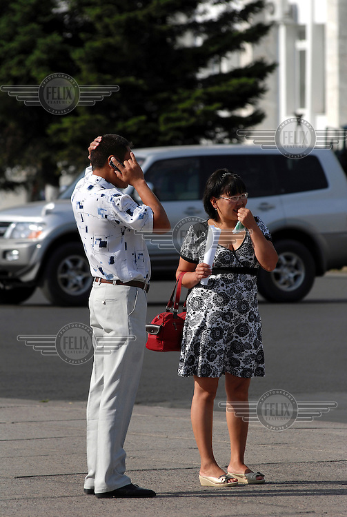 A man talks on his mobile phone in Kyzyl.
