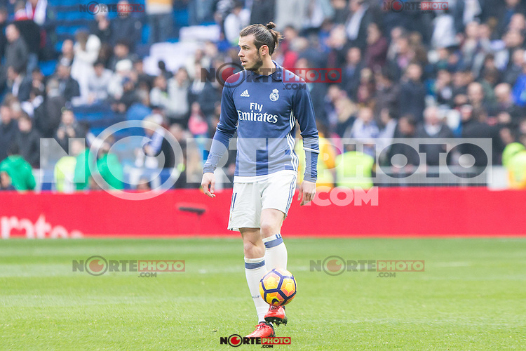 Garet Bale of Real Madrid during the match of La Liga between Real Madrid and RCE Espanyol at Santiago Bernabeu  Stadium  in Madrid , Spain. February 18, 2016. (ALTERPHOTOS/Rodrigo Jimenez) /Nortephoto.com