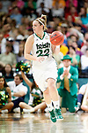 01 APRIL 2012:  Brittany Mallory (22) of the University of Notre Dame looks for an open teammates against the University of Connecticut during the Division I Women's Final Four Semifinals at the Pepsi Center in Denver, CO.  Notre Dame defeated UCONN 83-75 to advance to the national championship game.  Jamie Schwaberow/NCAA Photos