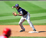 23 August 2009: Milwaukee Brewers' shortstop Alcides Escobar in action against the Washington Nationals at Nationals Park in Washington, DC. The Nationals defeated the Brewers 8-3 to take the third game of their four-game series, snapping a five games losing streak. Mandatory Credit: Ed Wolfstein Photo