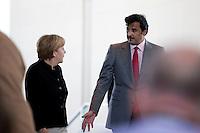 Bundeskanzlerin Angela Merkel (CDU) und der Emir des Staates Katar, Scheich Tamim bin Hamad bin Khalifa al Thani kommen am Mittwoch (17.09.14) in Berlin zu einer Pressekonferenz.<br /> Foto: Axel Schmidt/CommonLens