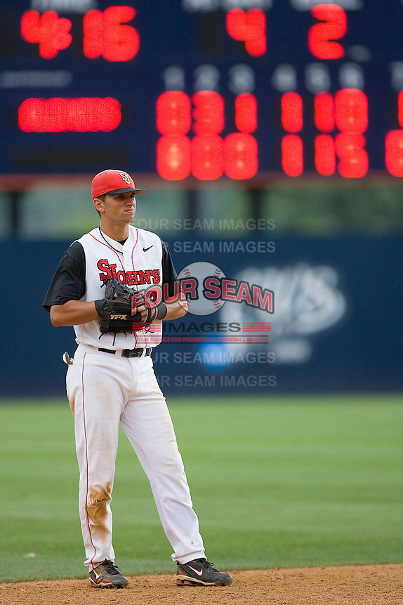Shortstop Joe Panik #2 of the St. John's Red Storm on defense against the Ole Miss Rebels at the Charlottesville Regional of the 2010 College World Series at Davenport Field on June 6, 2010, in Charlottesville, Virginia.  The Red Storm defeated the Rebels 20-16.  Photo by Brian Westerholt / Four Seam Images