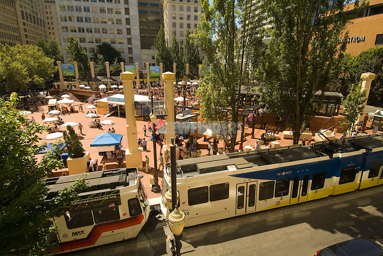 Pioneer Courthouse Square with MAX Lightrail