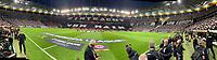 Choreographie der Fans von Eintracht Frankfurt - 18.04.2019: Eintracht Frankfurt vs. Benfica Lissabon, UEFA Europa League, Viertelfinale, Commerzbank ArenaDISCLAIMER: DFL regulations prohibit any use of photographs as image sequences and/or quasi-video.