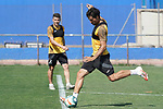 Getafe's Francisco Portillo (l) and Xavier Etxeita during training session. May 25,2020.(ALTERPHOTOS/Acero)